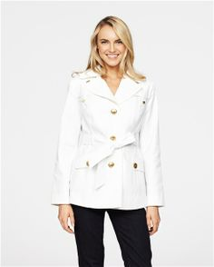 Meredith Short Trench Coat with Removable Hood