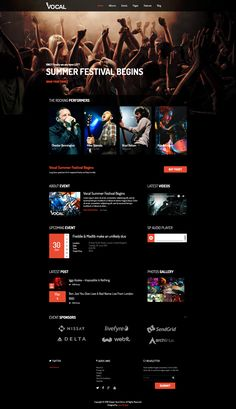 Vocal - Music Events & Dance and Night Club Joomla Template App Ui Design, Ad Design, Music Events, Event Website, Music Page, Joomla Templates, Web Design Inspiration, Design Conference, Night Club