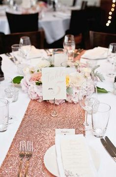 Rose Gold Sequin Table Runner hire from www.theprettypropshop.co.nz © Jel Photography http://www.jelphoto.co.nz