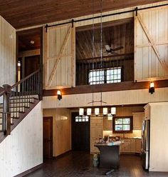 Loft with barn door closure 2018 house house plans, bedroom loft, upstairs bedroom Upstairs Bedroom, Bedroom Loft, Upstairs Loft, Cabin Bedrooms, Bedroom Rustic, Master Bedroom, Wood Bedroom, Metal Building Homes, Building A House