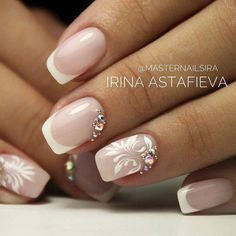 french nails tips Skin Care French Nails, Bridal Nails French, Sassy Nails, Cute Nails, Pretty Nails, Bridal Nails Designs, Wedding Nails Design, French Nail Designs, Diy Nail Designs