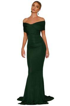 Emerald Off-shoulder Mermaid Wedding Party Gown