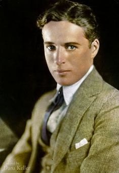Charlie Chaplin, ca. 1920 -A B&W photo colourised by Dana R Keller Hollywood Men, Hollywood Celebrities, Hollywood Actresses, Classic Hollywood, Actors & Actresses, Charlie Chaplin, Vevey, Colorized Historical Photos, Old Film Posters