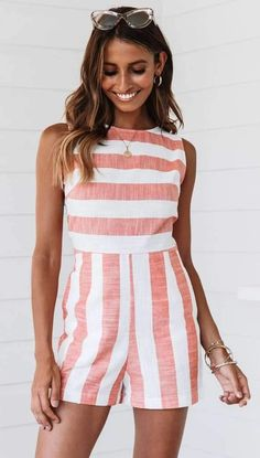 Sexy Stripe Sleeveless Jumpsuits – ebuytrends Jumpsuit Outfit, Casual Jumpsuit, Striped Playsuit, Playsuits, Jumpsuits, Summer Stripes, Beach Casual, Rompers, Overalls