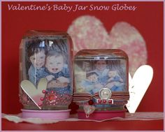 Baby Food Jar picture snow globes.: