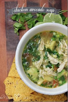 Chicken Avocado Soup - the shredded chicken perfectly complements the melt-in-your-mouth avocado in this wonderfully filling soup.