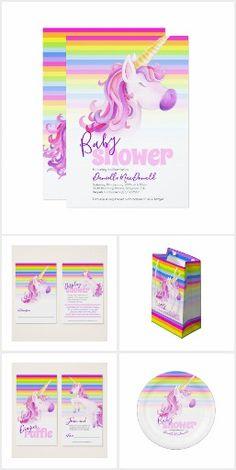 Unicorn rainbow stripes baby shower #babyshower #unicorn #unicornparty #rainbowparty