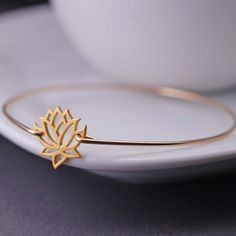 Gold Lotus Bangle Bracelet Yoga Jewelry