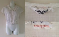 1950's Original Vintage ST MICHAEL Cheesecloth Crop Top Pin Up Blouse Size 10 12