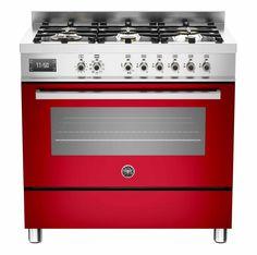 Fogão PRO90 6 MFE S ROT na cor vermelho com 6 queimadores, forno multifunções TURBO com churrasqueira, 89,5 cm X 60 cm (LxP). #BERTAZZONI #FOGAO #COZINHA