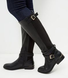 Black Leather-Look Elasticated Panel Riding Boots Equestrian Boots, Equestrian Outfits, Winter Heels, Winter Boots, Black Riding Boots, Black Boots, Knee High Boots, Over The Knee Boots, Punk Shoes