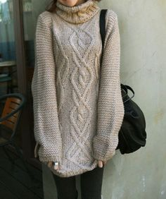 Vogue Korean New Arrival Turtle Collar Knit Long Hemp Flower Rhomb Sweater