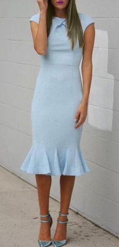 Cap Sleeve Light Blue Mermaid Dress ==