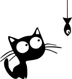 Cat and fish Kitty Drawing, Black Cat Tattoos, Art Beat, Image Chat, Cat Icon, Black Cat Art, Graffiti Murals, Fabric Stamping, Christmas Drawing