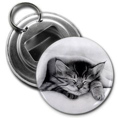 SLEEPING KITTEN Pencil Sketch Art 2.25 inch Button Style Bottle Opener by Creative Clam. $4.25. This 2.25 inch Button Style Bottle Opener with Key Ring makes a great gift for yourself or someone you know. ~ This artwork can also be featured on some or all of the following products offered by Creative Clam ~ Coffee Mugs   License Plates   Patches   Ornaments   Earrings   Key Chains   Fridge Magnets   Buttons   Pocket Mirrors   Dog Tags   Shoe Tags   Pendants   Zipper Pulls ... Sleeping Kitten, License Plates, Sketch Art, Zipper Pulls, Product Offering, Key Chains, Dog Tags, Bottle Opener, Coffee Mugs