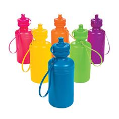 Neon Water Bottles - OrientalTrading.com Fill w/ candy & use as party favors