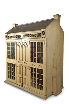 Grand-Sized English Wooden Dollhouse in the Georgian Manner,Early 19th Century