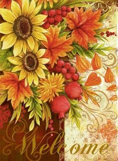 Medium Autumn Painting, Painting On Wood, Ikebana, Welcome Pictures, Sunflowers Background, Welcome Card, Sunflower Art, Vintage Fall, Fall Wallpaper