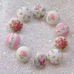 Sweet Pink Cottage Buttons. #pink #shabby #rose