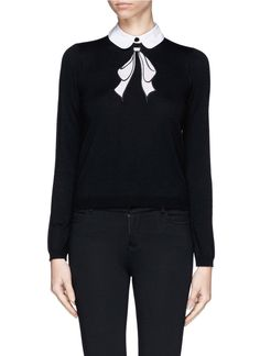ALICE + OLIVIA - Detachable collar bow intarsia sweater | Black Long Sleeve Knitwear | Womenswear | Lane Crawford - Shop Designer Brands Online