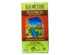 Eco Teas Organic Teas Rooibos, Fair Trade 24 tea bags HOT: To release the full flavor and benefits of rooibos, steep a tea bag in boiling water for 10+ minutes. ICED: make a sun tea with several tea bags in a large glass jar. Add ice and a twist of orange. MORE OPTIONS: Blend with fresh cardamom and ginger to make a caffeine-free chai. Add coconut milk and ice to make a Thai iced tea. Herbal Supplement. 24 teabags. USDA organic. 100% organic and certified Fair Trade Products. Packaged in Can...
