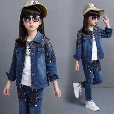 d77f020384b8 4-14 years Spring fall Style small flower Girls clothing set Denim jacket +  t-shirt + Jean pant 3 piece set cowboy 2 pcs suit Price  USD 49