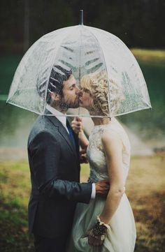 Romantic Wedding Couple with Umbrella.