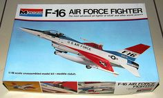Vintage F-16 Air Force Fighter Plastic Model Kit by Monogram, 1/48-Scale, Made in USA, Copyright 1976.