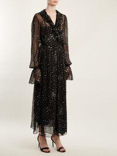 Ruffled Sequined Chiffon Wrap Dress - Black Ashish t7VM5E8Le