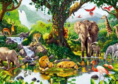 2. Harmony: This image shows harmony because all of the animals are living together in peace.