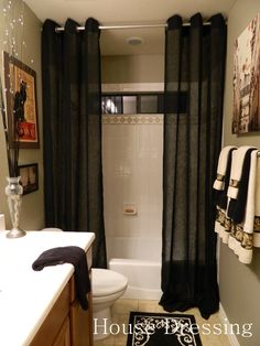 Love this idea for a shower curtain. (after my boys have moved out...ha ha) http://housedressingblog.blogspot.com/2011/09/paris-inspired-guest-bath.html?m=1