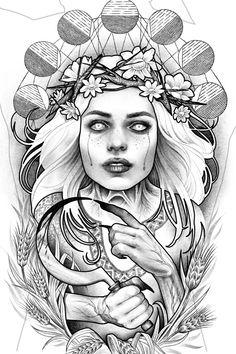 Dogma Noir Slavic Tattoo, Female Demons, Demon Tattoo, Goddess Tattoo, Tattoo Aftercare, Tattoo Illustration, Natural History, Tattoo Inspiration, Tattoos For Women