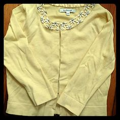 L.K. Bennett cropped cardigan Absolutely adorable! From one of Duchess Catherine's go-to brands. This soft yellow cropped cardigan with beaded neckline is wonderful for spring. Hook and eye closure L.K. Bennett Sweaters Cardigans