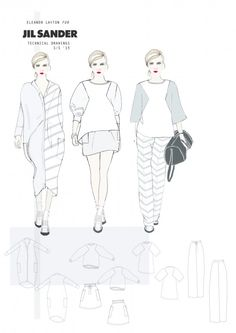 Fashion Portfolio - Jil Sander project, fashion design flats - fashion sketchbook; fashion illustration // Eleanor Layton
