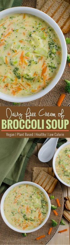 Healthy broccoli soup - prepared using all healthy & clean ingredients. It is also vegan, plant based and a low calorie soup. | http://watchehatueat.com