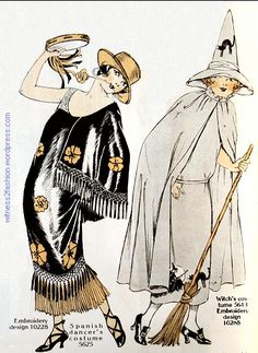Fashion Design Costume for a Spanish Dancer (Butterick and a Witch Delineator, Oct. Vintage Halloween Images, Halloween Art, Halloween Costumes, Halloween Stuff, Halloween Makeup, Ghost Costumes, Vintage Costumes, Vintage Outfits, Devil Costume