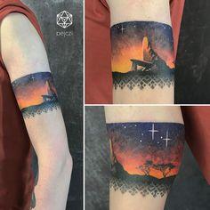 pride rock from lion king tattoo by pejczi, polish tattoo artist