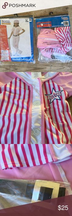 Girl's baseball uniform Halloween costume If your girl is less Disney princess and more major league star. She will love this pink and white baseball costume. Comes with everything shown- hat, pants, shirt, belt. New and never worn. Have twins?  Two are available. Costumes Halloween