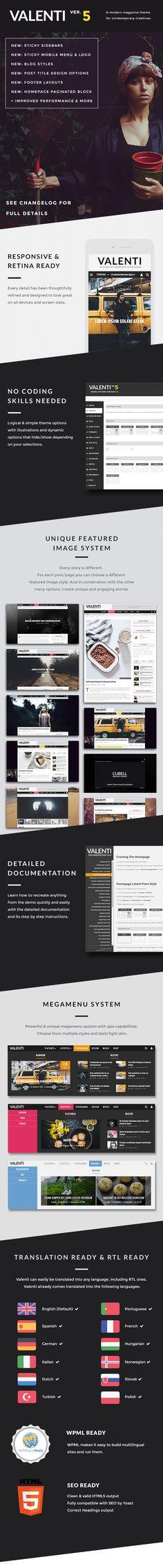 Valenti - WordPress HD Review Magazine News Theme • Download theme ➝…