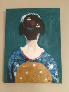 Geisha  acryl canvas painting by Murokancsa on Etsy