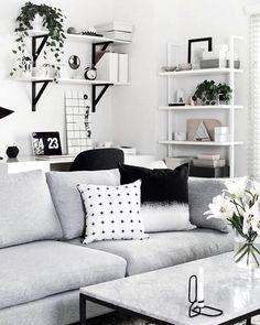 White And Black Cozy Living Room Design White Or Black Living Room Cozy Living Rooms, Home Living Room, Living Room Designs, Living Room Decor, Living Spaces, Living Furniture, Furniture Design, Decoration Inspiration, Decor Ideas