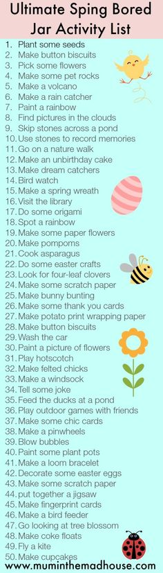Low Spend or No Spend Bored Jar Activities – The Spring Edition Ultimate Spring Bored Jar Activity list via The Mad House fab low cost or no cost kids activities … List Of Activities, Spring Activities, Holiday Activities, Craft Activities, Toddler Activities, Activity List, Family Activities, Easter Activities, Activity Days