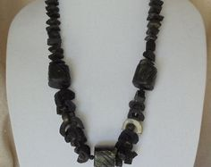 """Check out Vintage Black Bone Beads,Unique 26"""" Long 1970's Chunky Statement Necklace,Silver Metal Screw-on Clasp,VJ2016N on ckdesignsforyou"""