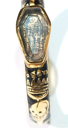 16th century memento mori ring with coffin gem detail...