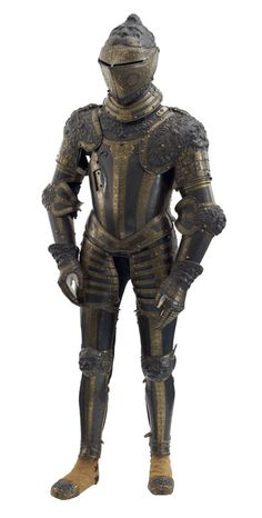 The Lion armour, displayed on the wooden figure of 'Edward VI' in the Line of Kings, ca 1550