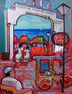 Original painting acrylic on papaer red and blue by MyMexicanArt, $87.00