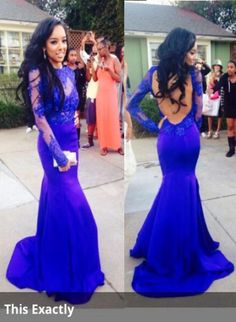 Cheap 2015 Lace Prom Dresses Open Back Long Sleeves Mermaid Floor Length Royal Blue Evening Gowns direct from China