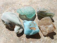 Rare bonfire sea glass lot, beach bonfire glass supply, turquoise aqua opaque bonfire seaglass by BeniciaSeaglass on Etsy