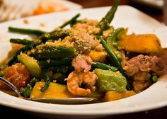 Pinakbet. Mixed vegetables steamed in fish or shrimp sauce. Veggies include eggplant, tomato, okra, string beans, chili peppers, parda, winged beans and others.