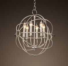 Living Room light (if you want to replace) Foucault's Iron Orb Chandelier Polished Nickel Small Modern Bathroom Lighting, Kitchen Lighting Fixtures, Light Fixtures, Orb Light, Diy Pendant Light, Iron Front Door, Double Front Doors, Room Lights, Ceiling Lights